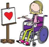 Special kid. Illustration of a girl sitting in a wheelchair and painting Royalty Free Stock Images