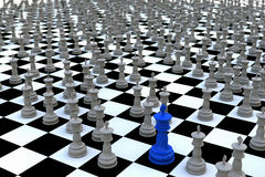 A special king amongst hundreds of others. Concept for being exceptional. The King of kings. Blue chess king amongst hundreds of gray kings on a checkered Royalty Free Stock Photography