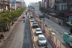 Special lane in the city with BTS Sky train violet line Under construction Stock Image
