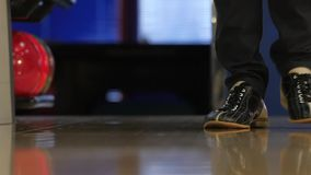 Special leather boots for bowling on feet. Slow stock video