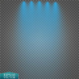 Special light effects. Realistic vector bright projectors for scene lighting  on plaid backdrop. Colorful stage Stock Images
