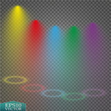 Special light effects. Realistic vector bright projectors for scene lighting  on plaid backdrop. Colorful stage Stock Photography