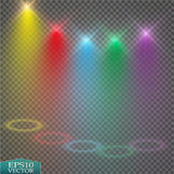 Special light effects. Realistic vector bright projectors for scene lighting  on plaid backdrop. Colorful stage Royalty Free Stock Photography