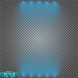 Special light effects. Realistic vector bright projectors for scene lighting  on plaid backdrop. Colorful stage Stock Photos