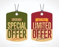 Special and limited offer sticker isolated bitmap. Special offer and limited offer sticker isolated bitmap. Sale sticker with special advertisement offer Royalty Free Stock Photography