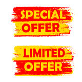 Special and limited offer, yellow and red drawn labels Stock Photography