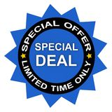Special limited time deal. Graphic advertising a special, limited time only, deal or offer stock photos