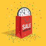 Special limited time sale symbol with shopping bag, wall watch and flying confetti. Isolated on yellow background. Easy to use for your design with transparent Stock Photos