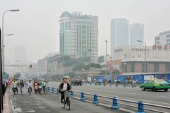 Special line for bicyles, pedicabs on the multilane road, China Stock Photo