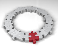Special link in the jigsaw circle. Red jigsaw piece is special link in circle of other pieces. 3D rendered reflective on white background Royalty Free Stock Images