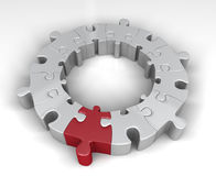 Special link in the jigsaw ring. Red jigsaw piece is special link in ring of other pieces. 3D rendered reflective on white background Stock Photo