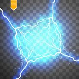 Special ljus effekt för blå abstrakt energichockexplosion med gnistan Klunga för blixt för vektorglödmakt elkraft royaltyfri illustrationer