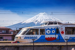 The special local train painted Mt. Fuji Stock Photo