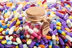 Special love pills in the jar. (installation on the theme of modern medicine stock image