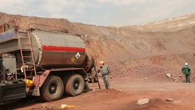 A special machine for mining in the quarry, iron ore mining stock footage