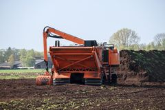 Special machine for peat extraction, raised bog in the Venner M. Oor, Lower Saxony, Germany royalty free stock photos