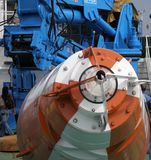 Special machinery. Special heavy machinery onboard the ship with crane Stock Photography