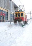 The snow removal tram Royalty Free Stock Images