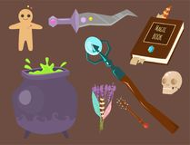 Special magic symbol magician fantasy carnival mystery tools cartoon miracle decoration vector illustration. Special magic effect trick occult esoteric magician stock illustration