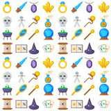 Special magic seamless pattern background magician fantasy carnival mystery tools cartoon miracle decoration vector Royalty Free Stock Photos