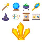 Special magic symbol magician fantasy carnival mystery tools cartoon miracle decoration vector illustration. Special magic effect trick symbol magician wand and Stock Images