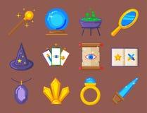 Special magic symbol magician fantasy carnival mystery tools cartoon miracle decoration vector illustration. Special magic effect trick symbol magician wand and Royalty Free Stock Photography