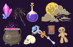 Special magic effect trick symbol magician wand and surprise entertainment fantasy carnival mystery tools cartoon Royalty Free Stock Photos