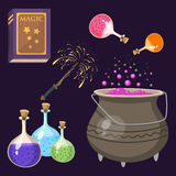 Special magic effect trick symbol magician wand and surprise entertainment fantasy carnival mystery tools cartoon Stock Photography