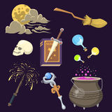 Special magic effect trick symbol magician wand and surprise entertainment fantasy carnival mystery tools cartoon Royalty Free Stock Photography