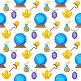 Special magic seamless pattern background magician fantasy carnival mystery tools cartoon miracle decoration vector Stock Images