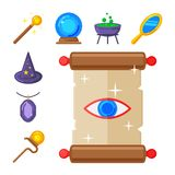 Special magic symbol magician fantasy carnival mystery tools. Special magic effect trick symbol magician wand and surprise entertainment fantasy carnival Stock Photos
