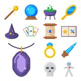 Special magic symbol magician fantasy carnival mystery tools. Special magic effect trick symbol magician wand and surprise entertainment fantasy carnival Royalty Free Stock Image