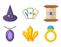 Special magic symbol magician fantasy carnival mystery tools. Special magic effect trick symbol magician wand and surprise entertainment fantasy carnival Royalty Free Stock Photo