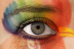 Special make up - head. Eye make up - rainbow color painting in the shape of head royalty free stock photos