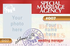 Special Marriage Agency. Identity card Special Marriage Agency 007 with example of stamp and job title and place for photo. Wedding manager or other Royalty Free Stock Image
