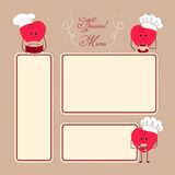Special menu forms. Restaurant menu with beautiful cartoon hearts Stock Photography