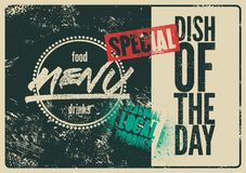 Special Menu typographical grunge vintage design. Dish of the day. Seasonal local produce. Retro vector illustration. Special Menu typographical grunge vintage vector illustration