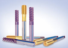 Special metal tools, drills Stock Images
