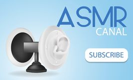 Special microphone with the white ears for ASMR isolated on gradient background. Realistic 3D illustration for template decoration royalty free illustration