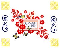 A Special Mom. Abstract red floral with bird and butterflies in blue and yellow. Corners have gold embellishments. White background with space for text Stock Image