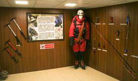 Special Mountaineering gear on display at Hall of Fame, Leh. Special Mountaineering gear consisting  of different types of crowbars, ropes, snow suits, snow Stock Photos