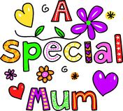 A Special Mum. Hand drawn and coloured whimsical cartoon special occasion text that reads A SPECIAL MUM Royalty Free Stock Photography