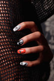Special nails for Halloween. Beautiful fun special nails with Halloween sample stock photo