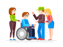 Special needs child with friends Stock Images