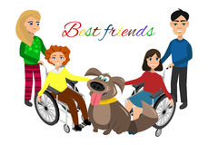 Special needs children with friends Royalty Free Stock Images