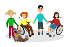 Special needs children with friends Stock Photography