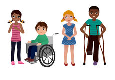 Special needs children sad set. Set of sad special needs children isolated on white background Stock Images