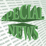 Special news. 3d text on a printed background Stock Photo