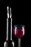 Special nozzle for wine pouring and a wine glass.Close up Royalty Free Stock Photos