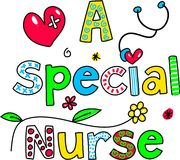A special nurse. Decorative text message isolated on white royalty free illustration